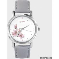 Zegarek - Różowa lilia - szary, skórzany. Czerwone zegarki damskie marki Pakamera. Za 139,00 zł.