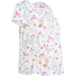 Bluzka ciążowa lekko prześwitująca bonprix biel wełny w kwiaty. Białe bluzki z odkrytymi ramionami bonprix, w kwiaty, z wełny, moda ciążowa. Za 59,99 zł.