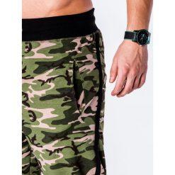 SPODNIE MĘSKIE DRESOWE P183 - KHAKI/MORO. Brązowe spodnie dresowe męskie Ombre Clothing, moro, z bawełny. Za 49,00 zł.