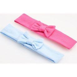 Czapeczki niemowlęce: Elastyczna opaska z kokardką 2 pack – Różowy