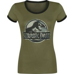 Jurassic Park Camo Logo Koszulka damska oliwkowy/czarny. Czarne bluzki z odkrytymi ramionami Jurassic Park, s, z nadrukiem, z okrągłym kołnierzem. Za 99,90 zł.