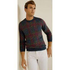 Mango Man - Sweter Check. Szare swetry klasyczne męskie Mango Man, l, z bawełny, z okrągłym kołnierzem. Za 199,90 zł.