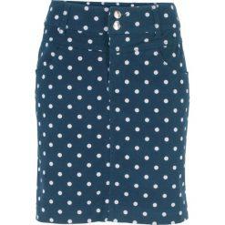 Spódnica ze stretchem, w kropki bonprix ciemnoniebiesko-biały w kropki. Białe spódniczki bonprix, w kropki. Za 59,99 zł.