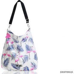 Torba we flamingi bawełniana. Białe torebki klasyczne damskie Pakamera, z bawełny, duże. Za 140,00 zł.