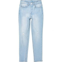 Dżinsy typu slim wysoka talia poszarpane 10-16 lat. Szare spodnie chłopięce La Redoute Collections, z bawełny. Za 102,86 zł.