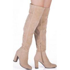Beżowe Kozaki Kartegina. Białe buty zimowe damskie marki Reserved, na wysokim obcasie. Za 94,99 zł.