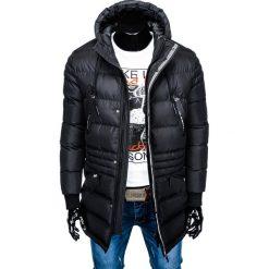 KURTKA MĘSKA ZIMOWA PARKA C386 - CZARNA. Czarne kurtki męskie zimowe marki Ombre Clothing, m, z bawełny, z kapturem. Za 143,20 zł.