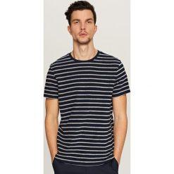 T-shirty męskie: T-shirt w poziome paski – Czarny