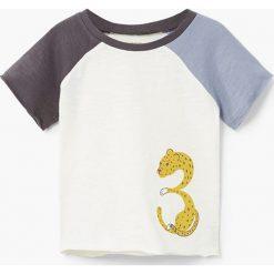 Mango Kids - T-shirt dziecięcy Paul 80-104 cm. Szare t-shirty chłopięce z nadrukiem marki Mango Kids, z bawełny, z okrągłym kołnierzem. W wyprzedaży za 12,90 zł.