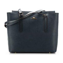 Torebki klasyczne damskie: Skórzana torebka w kolorze granatowym – (W)31 x (G)12,5 cm