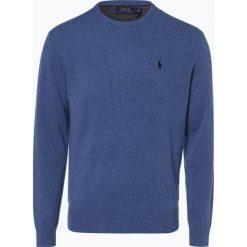 Polo Ralph Lauren - Męski sweter z wełny merino, niebieski. Niebieskie swetry klasyczne męskie Polo Ralph Lauren, l, z haftami, z dzianiny, z klasycznym kołnierzykiem. Za 699,95 zł.