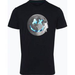 Armani Exchange - T-shirt męski, niebieski. Czarne t-shirty męskie z nadrukiem marki Armani Exchange, l, z materiału, z kapturem. Za 229,95 zł.
