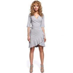 DARELLE Sukienka na zakładkę z wiązaniem - szara. Szare sukienki na komunię Moe. Za 119,00 zł.
