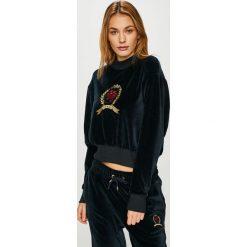Tommy Jeans - Bluza. Czarne bluzy rozpinane damskie Tommy Jeans, l, z aplikacjami, z bawełny, bez kaptura. Za 579,90 zł.