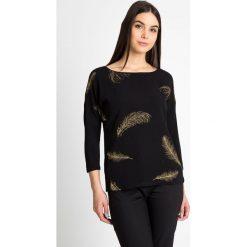 Bluzki asymetryczne: Czarna bluzka z brokatowymi piórami QUIOSQUE
