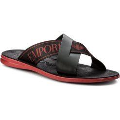 Klapki EMPORIO ARMANI - X4P001 XAL73 N506 Black/Red/Black. Czarne klapki męskie Emporio Armani, z materiału. W wyprzedaży za 489,00 zł.