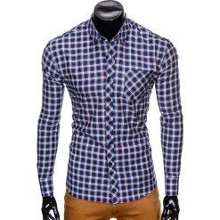 KOSZULA MĘSKA W KRATĘ Z DŁUGIM RĘKAWEM K420 - GRANATOWA/CZERWONA. Brązowe koszule męskie na spinki marki Ombre Clothing, m, z aplikacjami, z kontrastowym kołnierzykiem, z długim rękawem. Za 49,00 zł.
