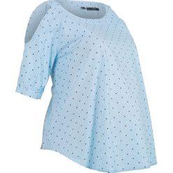 Bluzka ciążowa bawełniana z wycięciami bonprix jasnoniebieski w paski. Niebieskie bluzki ciążowe marki bonprix, z nadrukiem. Za 37,99 zł.