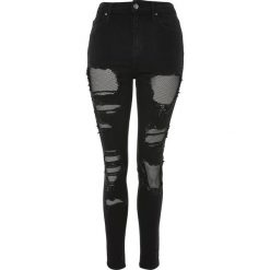 Topshop FISHNET JAMIE Jeans Skinny Fit black. Czarne boyfriendy damskie Topshop. W wyprzedaży za 231,20 zł.