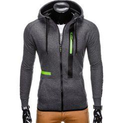 BLUZA MĘSKA ROZPINANA Z KAPTUREM B746 - GRAFITOWA. Szare bluzy męskie rozpinane Ombre Clothing, m, z bawełny, z kapturem. Za 49,00 zł.