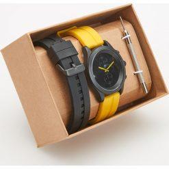 Zegarki męskie: Zegarek z wymiennymi paskami – Żółty
