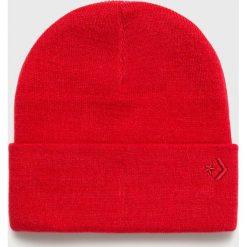 Converse - Czapka. Czerwone czapki zimowe damskie Converse, na zimę, z dzianiny. Za 89,90 zł.