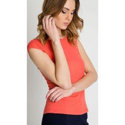 Bluzki asymetryczne: Pomarańczowa bluzka z krótkim rękawem BIALCON