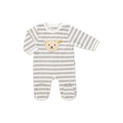 Steiff  Baby Nicki Śpioszki w paski softgrey - szary. Szare śpiochy niemowlęce Steiff, z bawełny. Za 92,00 zł.