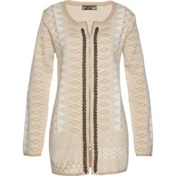 Długi sweter rozpinany bonprix cielisto-biały. Brązowe kardigany damskie marki bonprix, z żakardem. Za 109,99 zł.