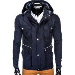 KURTKA MĘSKA PRZEJŚCIOWA PARKA C343 - GRANATOWA. Zielone kurtki męskie przejściowe marki Ombre Clothing, na zimę, m, z bawełny, z kapturem. Za 69,00 zł.