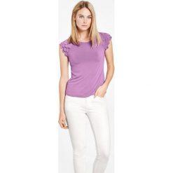 Koszulka z szyfonowymi detalami. Szare t-shirty damskie Taifun, z szyfonu, z krótkim rękawem. Za 189,00 zł.