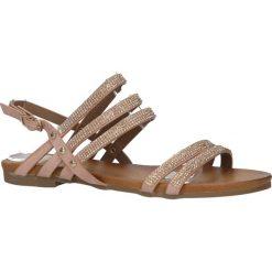 Różowe sandały płaskie z mieniącymi się kryształkami Casu K18X8/P. Czerwone sandały damskie Casu, na płaskiej podeszwie. Za 29,99 zł.