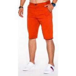 KRÓTKIE SPODENKI MĘSKIE CHINO P520 - CEGLASTE. Czerwone szorty męskie marki Ombre Clothing, eleganckie. Za 39,00 zł.