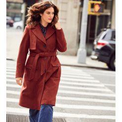 Płaszcze damskie: Płaszcz stylizowany na trencz, 40% wełny