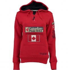 """Bluza """"Gyrelle"""" w kolorze czerwonym. Czerwone bluzy rozpinane damskie marki Canadian Peak, s, z aplikacjami, prążkowane, z krótkim rękawem, krótkie. W wyprzedaży za 136,95 zł."""
