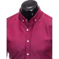 Koszule męskie na spinki: KOSZULA MĘSKA Z DŁUGIM RĘKAWEM K398 – CIEMNORÓŻOWA