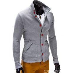 BLUZA MĘSKA ROZPINANA BEZ KAPTURA CARMELO - SZARA. Szare bluzy męskie rozpinane marki Ombre Clothing, m, z dzianiny, bez kaptura. Za 69,00 zł.