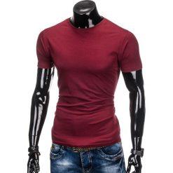 T-shirty męskie: T-SHIRT MĘSKI BEZ NADRUKU S884 – BORDOWY
