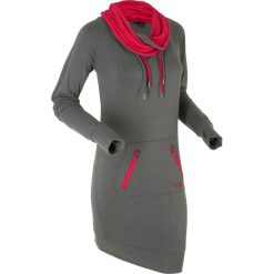 Długa bluza dresowa, długi rękaw bonprix szary melanż. Czarne bluzy rozpinane damskie marki bonprix, w kolorowe wzory, z dresówki. Za 99,99 zł.