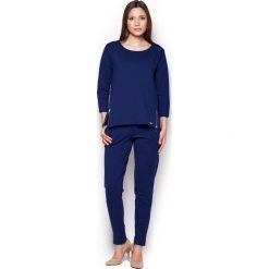 Bluzy rozpinane damskie: Granatowa Komfortowa Bluza z Rękawem 3/4 ze Złotymi Suwakami