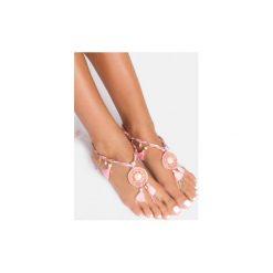 Bransoletki damskie na nogę: Różowa bransoletka na stopę Satin Tassle