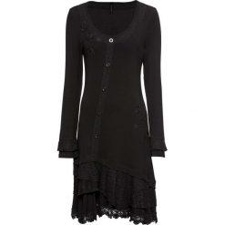 Sukienka shirtowa z aplikacjami bonprix czarny. Czarne sukienki koronkowe bonprix, z aplikacjami, plisowane. Za 169,99 zł.
