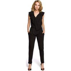 Kombinezony eleganckie: Czarny Elegancki Kombinezon z Kopertowym Założeniem bez Rękawów