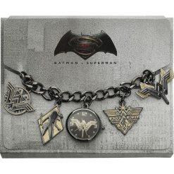 Zegarki damskie: Wonder Woman Logo Charm Watch Zegarek na rękę czarny/złoty
