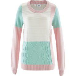 Swetry damskie: Sweter z okrągłym dekoltem, w dzianinowy wzór bonprix pastelowy jasnoróżowy – pastelowy miętowy – biel wełny wzorzysty
