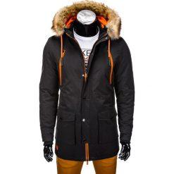 KURTKA MĘSKA ZIMOWA PARKA C358 - CZARNA. Czarne kurtki męskie pikowane marki Ombre Clothing, na zimę, m, z futra. Za 189,00 zł.