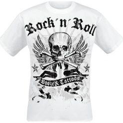 Booze & Tattoos T-Shirt biały. Białe t-shirty męskie z nadrukiem Booze & Tattoos, l. Za 79,90 zł.
