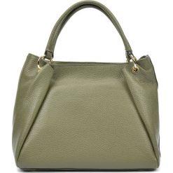 Torebki klasyczne damskie: Skórzana torebka w kolorze zielonym – (S)22 x (W)33 x (G)11 cm