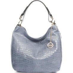 Torebki klasyczne damskie: Skórzana torebka w kolorze niebieskim – 37 x 32 x 12 cm