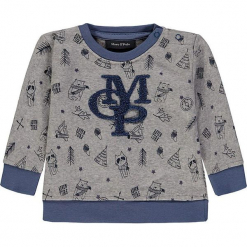 Bluza w kolorze szarym. Szare bluzy chłopięce rozpinane Marc O'Polo Junior, z aplikacjami, z materiału. W wyprzedaży za 62,95 zł.